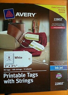 """Avery Printable Tags with Strings for Inkjet 2x3.5"""" Pack of 96 Tags 22802"""