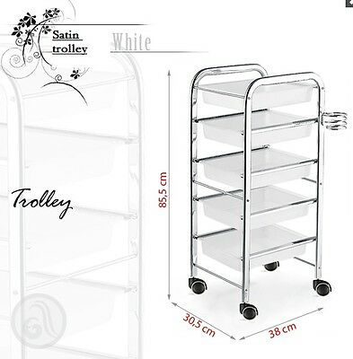 Metal framed hairdressing or beauty trolley salon makeup in white or black