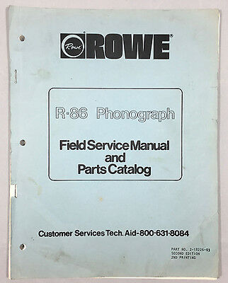 Jukebox Manual Rowe R-86 Field Service Manual & Parts Catalog