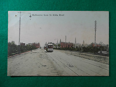 Early 1900's Postcard ' Melbourne From St. Kilda Road ' With Trams.