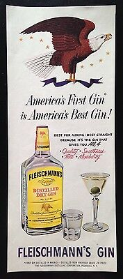 1953 Fleischmann's Gin eagle 1 bottle 1 glass 1 martini vintage print ad