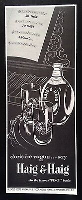 "1953 Haig & Haig Whisky 2 glass 1 bottle ""pinch"" bottle whiskey vintage print ad"