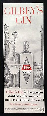 1958 Gilbey's Gin Venice illustration original vintage print ad
