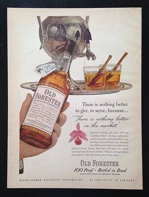 1948 Old Forester Whisky silver spigot dispenser 2 glass 1 bottle VTG print ad
