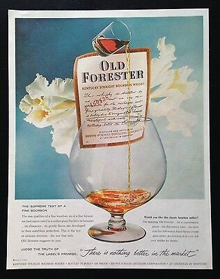 1958 Old Forester Bourbon Whisky 2 glass white orchid vintage print ad