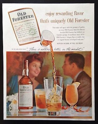 1959 Old Forester Whisky 1 bottle 4 glasses original vintage print ad