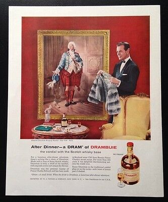 1958 Drambuie whiskey liqueur Revillon fur original vintage print ad