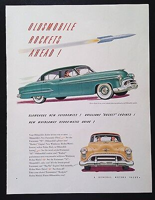 1950 Oldsmobile 98 rocket 88 car vintage print ad