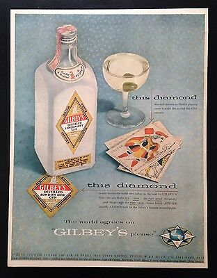 1955 Gilbey's Gin French playing cards 1 bottle 1 martini olive vintage print ad
