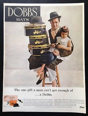 1956 Dobbs Hats men's hat fashion 3 styles father & daughter vintage print ad