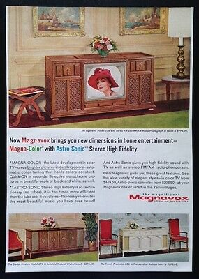 1964 Magnavox TV stereo FM/AM radio phonograph TV console 60's vintage print ad