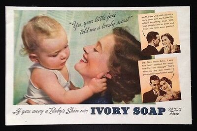 1936 Ivory Soap baby and mother original vintage print ad