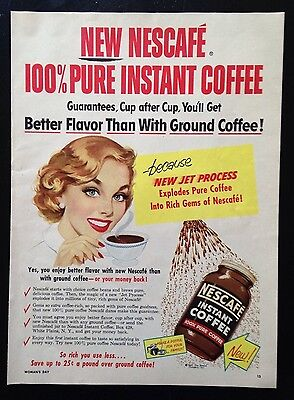 1954 Nescafe Instant Coffee woman drinking coffee original vintage print ad