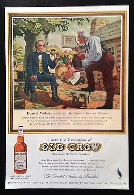 1959 Old Crow Bourbon Whiskey Senator Webster James Crow whisky vintage print ad
