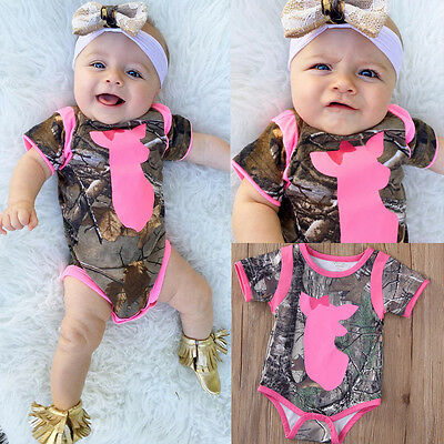 2017 Newborn Infant Baby Girls Boys Summer Clothes DEER Romper Playsuit Outfits