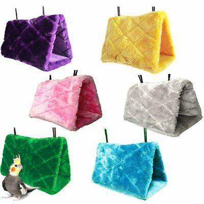 Soft Plush Snuggle Hut Tent Bed Bunk For Parrot Bird Hammock Hanging Cave Cage