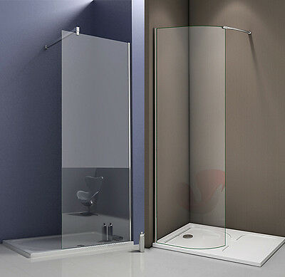 Wet Room Shower Enclosure Curved Straight Screen and Tray Walk In Tempered Glass