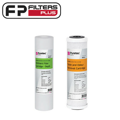 Puretec Replacement Water Filters - 5 Micron Sediment & 0.5 Micron Carbon