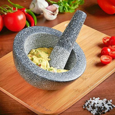 Granite Pestle & Mortar Herb Spice Garlic Ginger Mixing Grinding Crusher Bowl