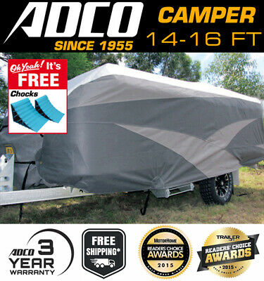 ADCO 14-16 ft Camper Trailer Cover Suit Jayco Swan, Flamingo Penguin FREE CHOCKS