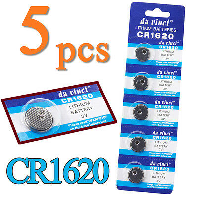 5pcs CR1620 3 Volt Button Cell Coin Battery Pack for Watch Remote Calculator Toy