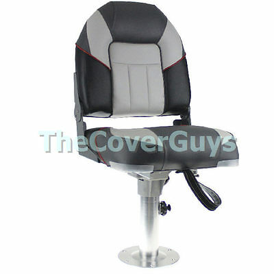 Boat Seat Premium Heavy Duty Centurion Folding Black/ Charcoal