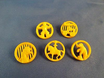Set Of Five Yellow Plastic Realistic Buttons With Circus Theme