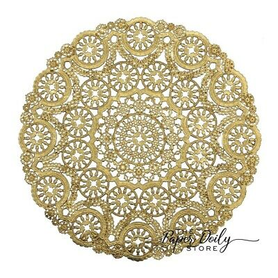 "10 - 12"" GOLD Metallic Foil MEDALLION PAPER LACE DOILIES 