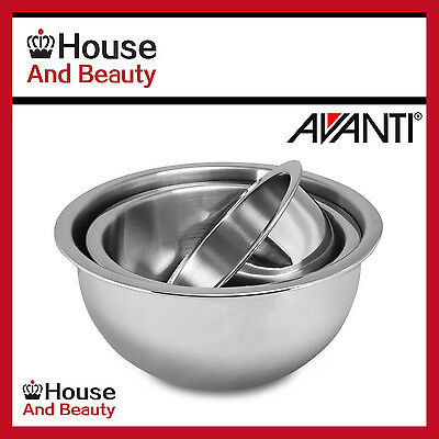 NEW Avanti 3 Piece Deep Stainless Steel Mixing Bowl Set - 18/22/26 cm