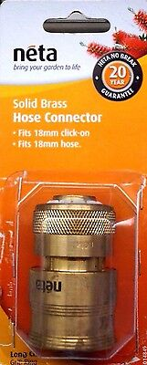 NETA SOLID BRASS HOSE CONNECTOR LONG CLAW fits 18mm hose & 18mm click -on
