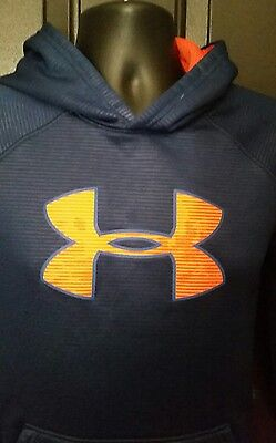 Under Armour Blue Hoodie Pullover Sweatshirt Youth Size XL Loose Big Logo Storm