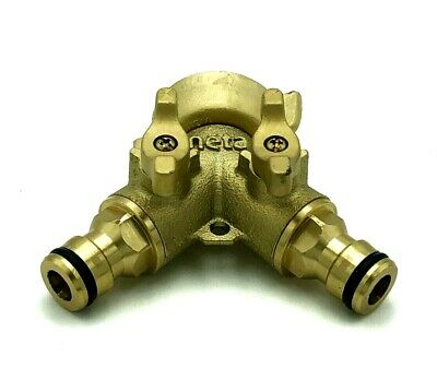 """NETA SOLID BRASS UNI TWIN TAP fits 3/4"""" and 1"""" tap outlets & 12mm click-on"""