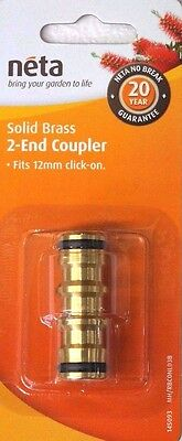 NETA SOLID BRASS 2-END COUPLER fits 12mm click-on