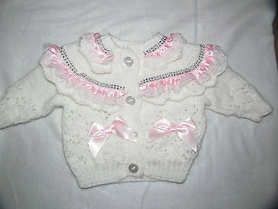 Baby Girls  Knitted Matinee Cardigan Coat Satin Lace Bling White/pink 6-12Months