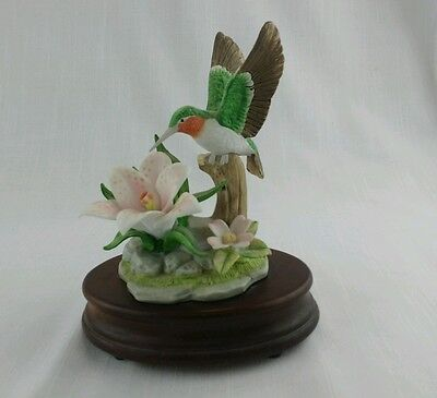 Vintage San Francisco Music Box Company Porcelain Humming Bird Musical Figurine