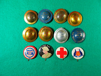 Early 1900's  Wwi Period, 8 United Returned Soldiers Tin Hat Badges And 4 Pins