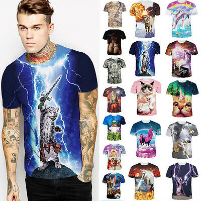 2017 New Men's 3D print Short Sleeve T-Shirts Slim Fit Tee Round Neck Casual