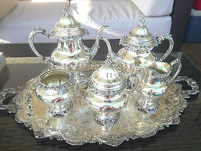 4 Pc Clean Heavy Wallace Grande Baroque Sterling Coffee / Tea Set Matching Tray