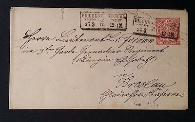 RARE 1870 Germany (Northern Postal Dist) Cover w pre-printed 1 Gr rose stamp