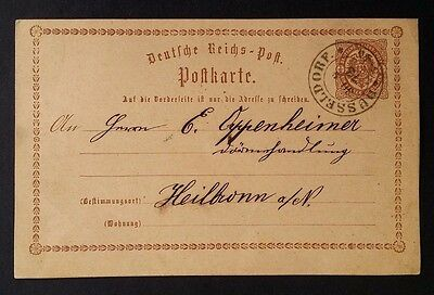 1873 Germany Postcard with preprinted 1/2 Gr Imperial eagle stamp canc Dusseldof