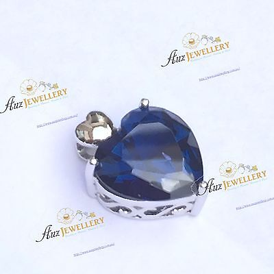 5.6ct (12 x 12 mm) Created Sapphire Real 925 Sterling Silver Heart Shape Pendant
