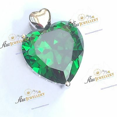 5.6ct (12 x 12 mm) Created Emerald Real 925 Sterling Silver Heart Shape Pendant