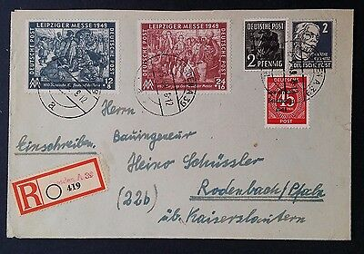 RARE 1949 Germany (Russian Occ Zone) Registd Cover ties 5 stamps canc Dresden