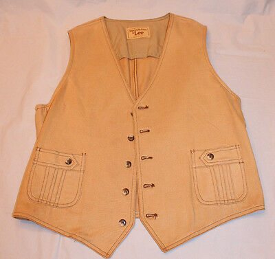 Vintage 70s Separate-Lee by Lee Tan Vest Made in USA 44R Hipster Western RAD!