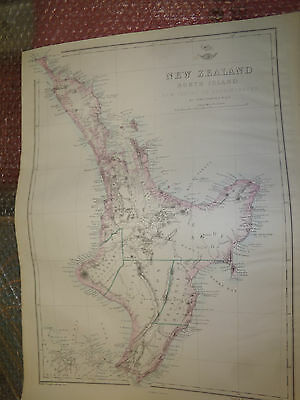 New Zealand c1863 Weekly Dispatch Atlas drawn by J.Dower 310x425 mm Framed20more