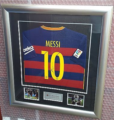 Hand Signed Lionel Messi Barcelona Football Shirt With Deluxe Framing