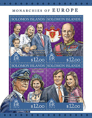 Solomon Islands 2016 MNH Monarchies of Europe 4v M/S Kings Queens Royalty Stamps