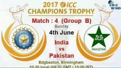 India Vs Pakistan ICC Champions Trophy 2017 - 2 Tickets Eric Hollies Stand