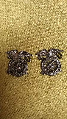 WWI US Army Officer Quarter Master Corps Insignia Pins, One Pair