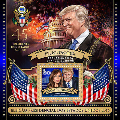Sao Tome & Principe 2016 MNH Donald Trump 45th US Presidents 1v S/S Stamps